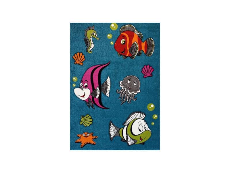 Fish tapis pour enfant 160x230 cm turquoise, vert et orange ...
