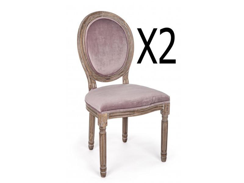 Lot de 2 chaises en bois de bouleau effet velours - dim : l 48 x p 46 x h 96 cm -pegane
