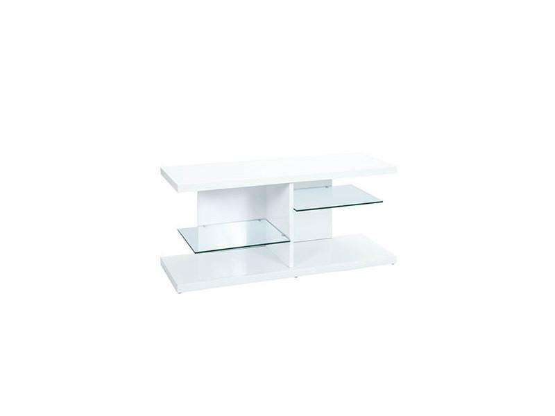 Meuble tv plateaux en verre laqué blanc brillant