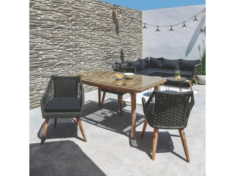 Lot de 4 chaises de jardin en corde et bois gris napal - l ...