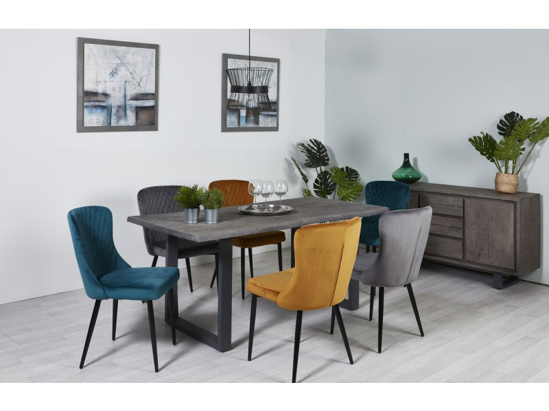 Bobochic table 240 cm awa gris bois acacia massif et pieds carrés métal gris gris
