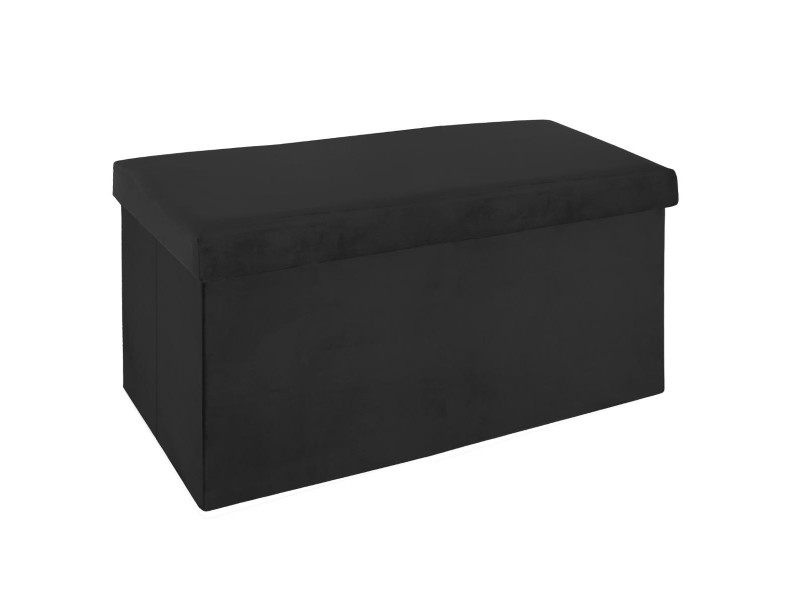 Pouf pliant double noir en velours - l. 76,6 x l. 38 x h. 37,5 cm -pegane-