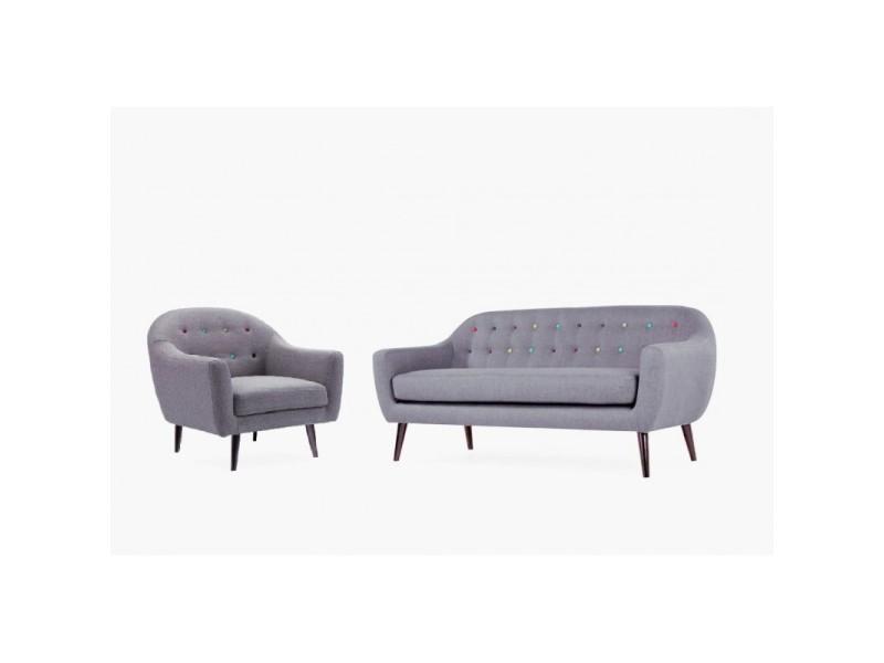 Ensemble canapé fauteuil gris - design scandinave vintage - berlin