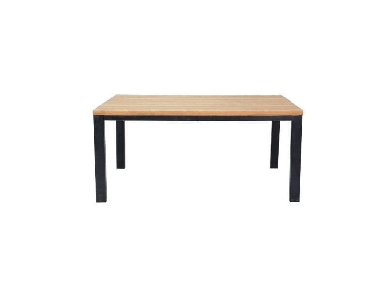 Table 200 cm aaron - plateau mdf effet bois naturel et pieds en métal noir.