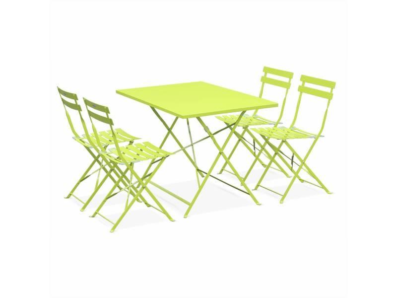 Salon de jardin bistrot pliable emilia rectangulaire vert anis avec ...