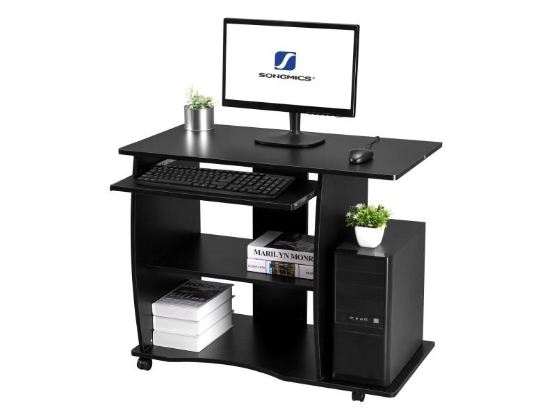 Bureau mobile table informatique table dordinateur noir lcd751b