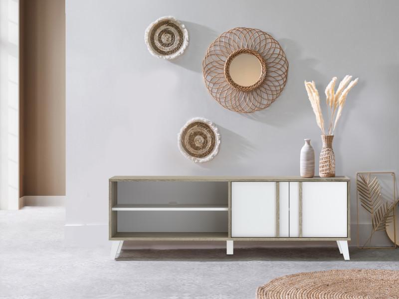 Bobochic meuble tv 150 cm otta imitation bois et blanc