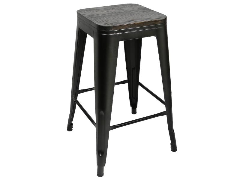 2x tabouret de bar hombuy industriel avec siège en bois, chaise de comptoir, métal, design industriel, empilable