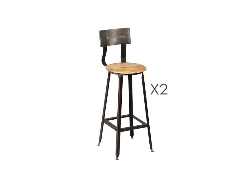 Lot de 2 chaises de bar en acier assise bois atelier metal