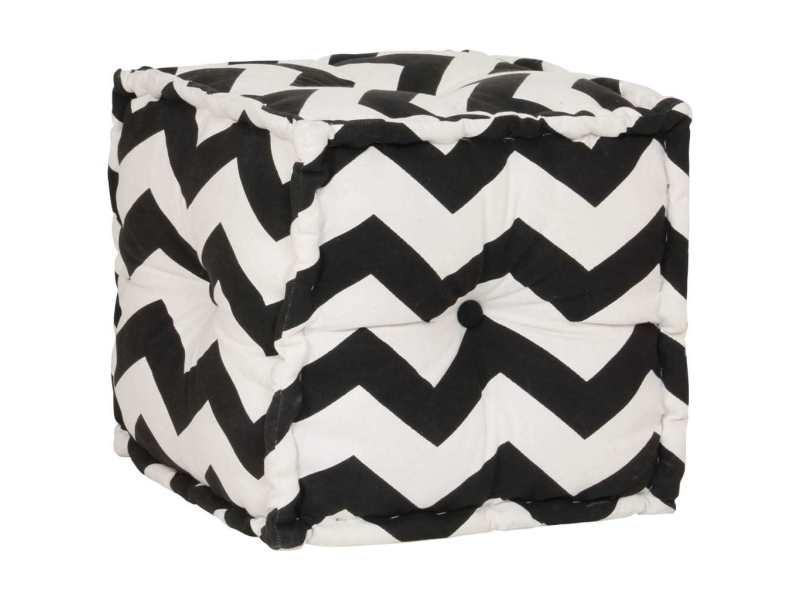 Contemporain meubles ensemble bratislava pouf cube en coton avec motif 40 x 40 cm noir et blanc