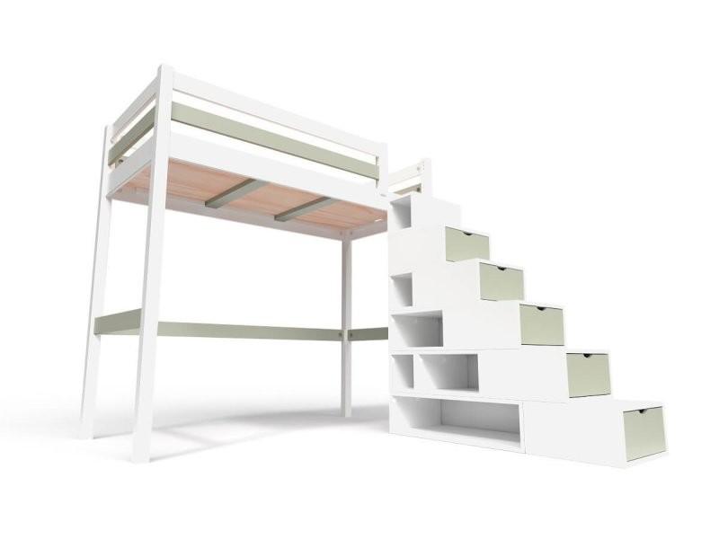 Lit Mezzanine Sylvia Avec Escalier Cube Bois 90x200 Blanc