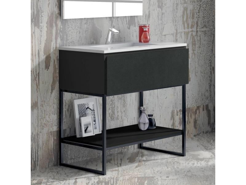 Meuble salle de bain noir 80 cm 1 tiroir vasque - Meuble colonne salle de bain conforama ...