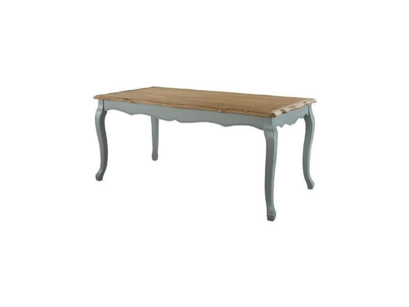 Romance table a manger de 6 a 8 personnes classique placage bois paulownia + pieds bois gris - l 180 x l 90 cm