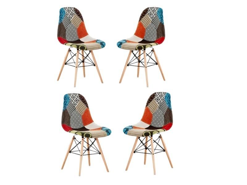 Lot de 4 chaises scandinaves patchwork pieds eiffel