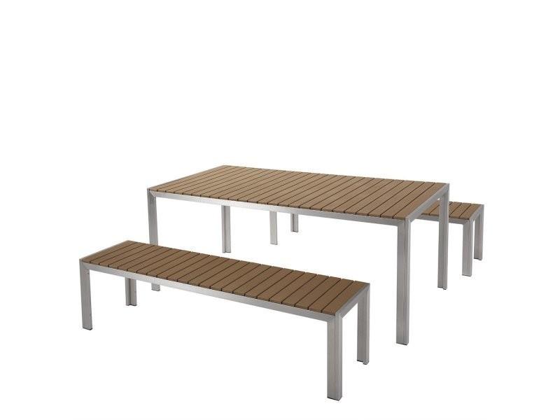 Ensemble de jardin en aluminium et bois composite marron nardo 17761