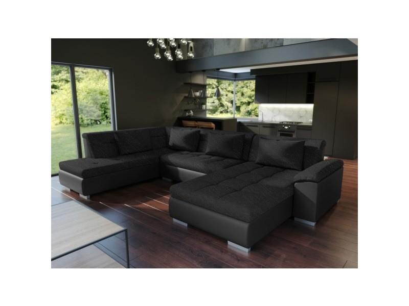 Grand canapé d'angle panoramique convertible lemon noir. Tissu et simili cuir avec lit. Angle gauche