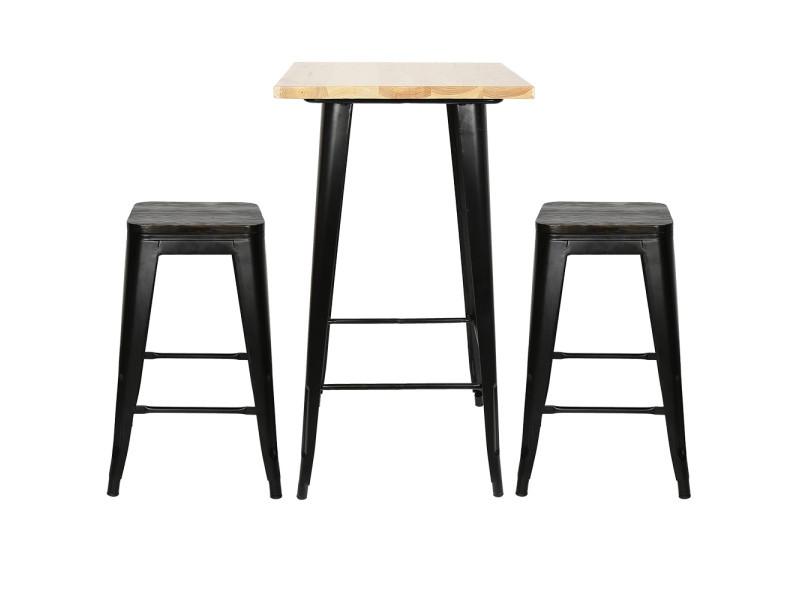 Hombuy® ensemble de table de bar couleur bois et 4 tabourets avec siège en bois style industriel pour bistrot, cuisine, jardin, restaurant