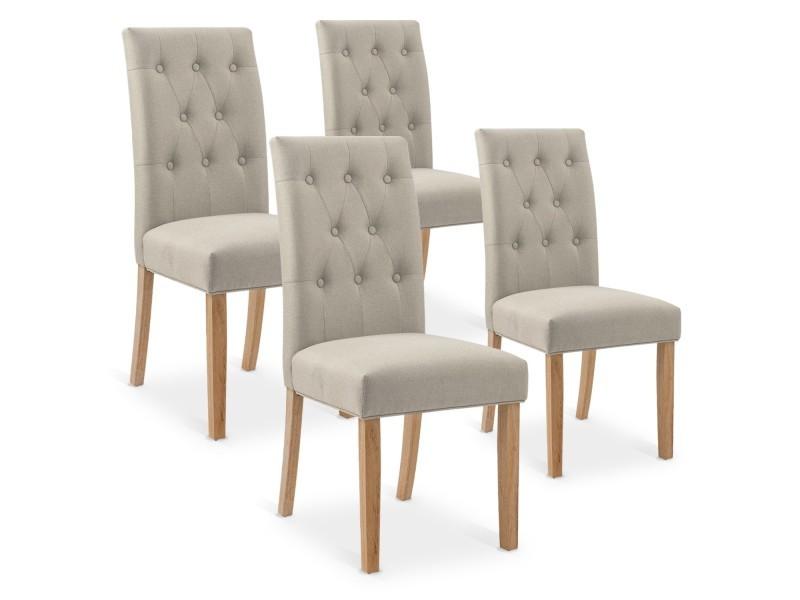 Lot de 4 chaises capitonnées gaya tissu beige Vente de