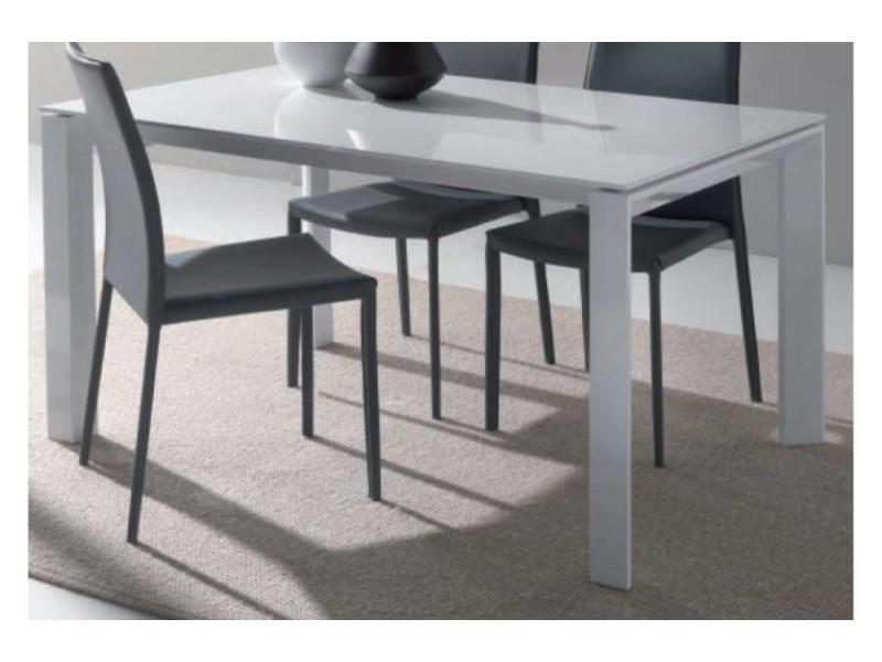 Table repas extensible sliver en verre blanc piétement en acier laqué blanc. 20100836457