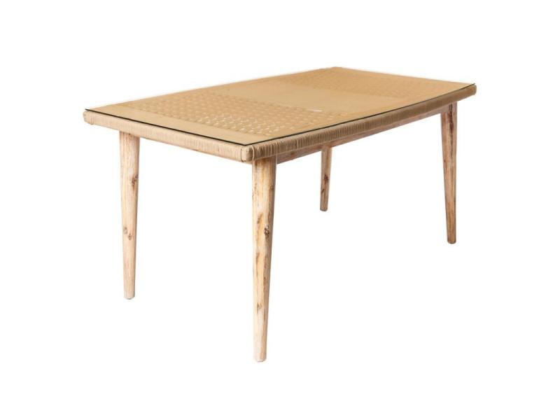 Table de repas en corde beige/bois/verre - biak - l 160 x l ...