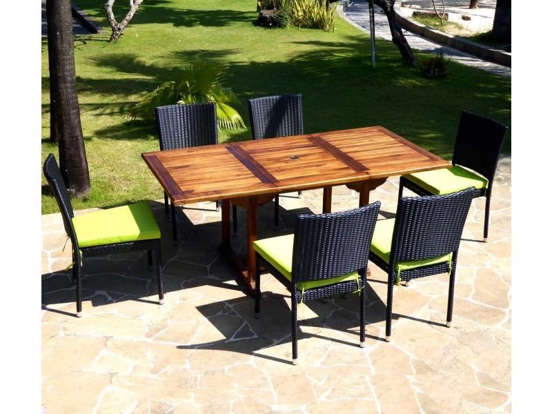 Salon en teck avec 6 chaises en résine tressée - Vente de Salon de ...