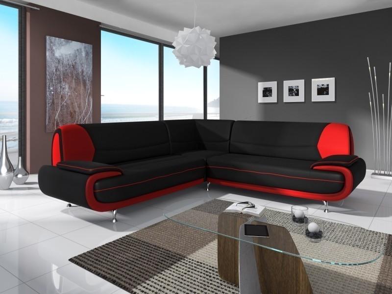 Canapé D Angle Design Noir Et Rouge Marita Xl Vente De