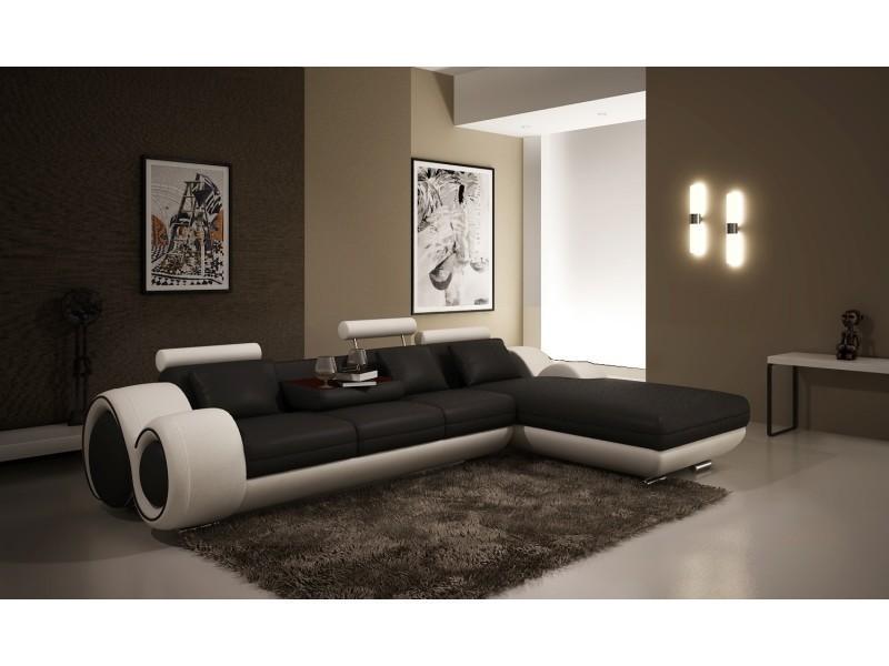 Canapé d'angle avec méridienne noir et blanc oslo-