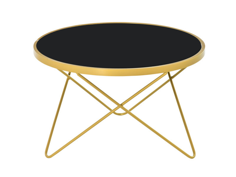 Table basse ronde design style art déco ø 65 x 40h cm plateau verre trempé noir châssis acier doré