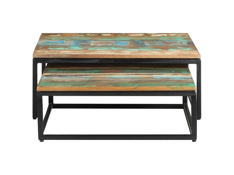 Vidaxl tables basses gigognes 2 pcs bois de récupération massif 320390