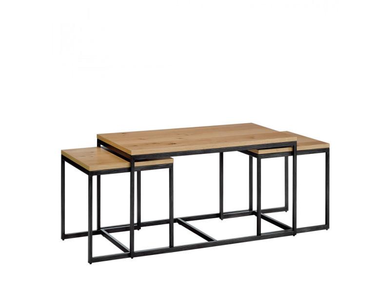 Temmelig 3 Tables Basses Gigognes Couleur Bois Clair Noir