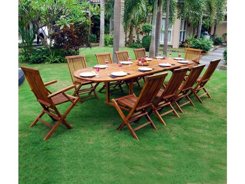 Ensemble salon de jardin en teck huilé 10-12 places - table ovale ...