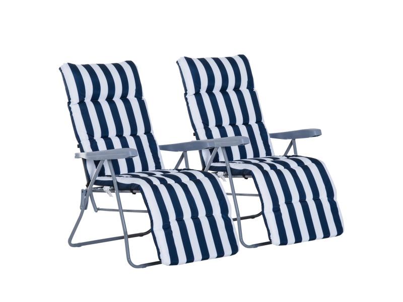 Lot de 2 chaise longue bain de soleil adjustable pliable transat lit de ...