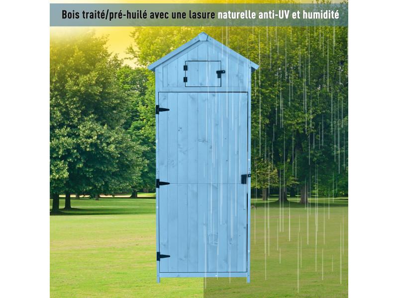Outsunny Armoire Abri De Jardin Remise Pour Outils 3 Etageres 2 Porte Loquets Toit Pente Bitume 77l X 54l X 179h Cm Pin Massif Traite Bleu Dv Videk Hr