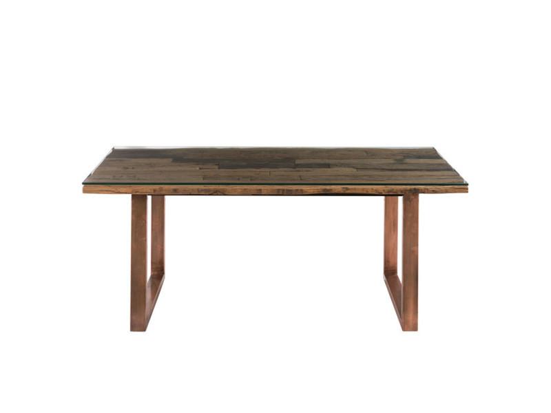 Table de repas métal cuivré/bois/verre - amelia - l 190 x l 90 x h 76 - neuf