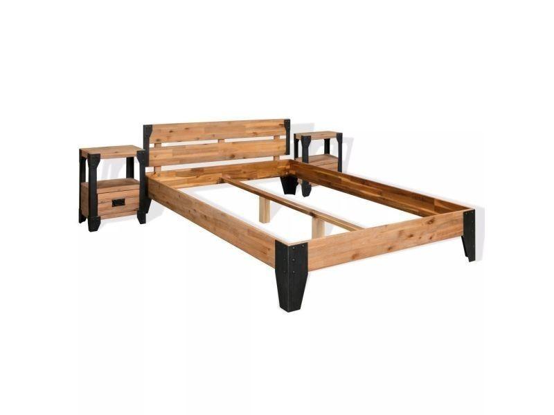 2 X Cadre Tables Chevet 200 Acier 180 Acacia Lit Et Cm De Vidaxl dBrCeWxo