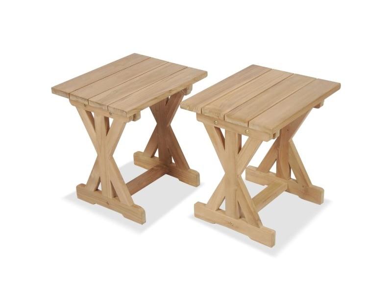 Magnifique meubles de jardin ligne hanoï tabouret d'extérieur 2 pcs teck massif 42 x 35 x 45 cm