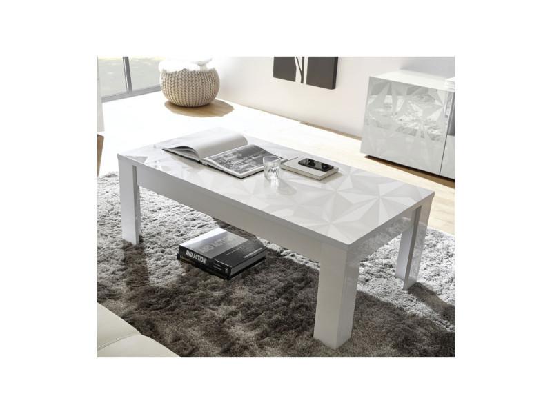 Table Basse Rectangulaire Laquee Blanc Brillant Kioo L 122 X L