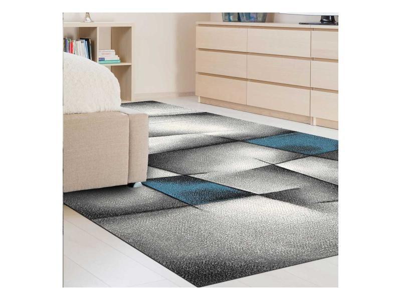 Tapis salon moderne de créateur parlak 3d bleu, gris, noir 200 x 290 ...
