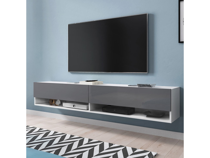 Meuble tv - WANDER - 180 cm - blanc mat / gris brillant
