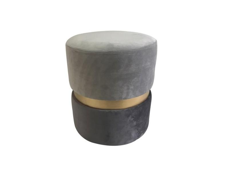 Pouf imitation velours - d 36 x h 39 cm - bicolore - gris