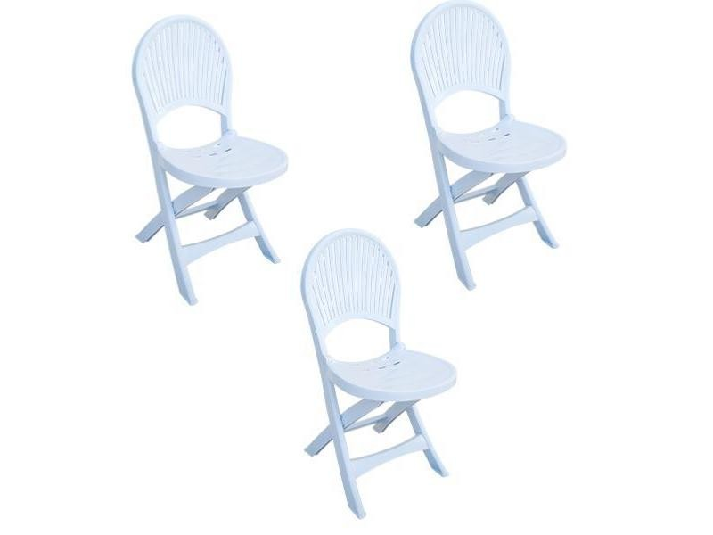Lot de chaises de jardin blanches en plastique - pliables ...