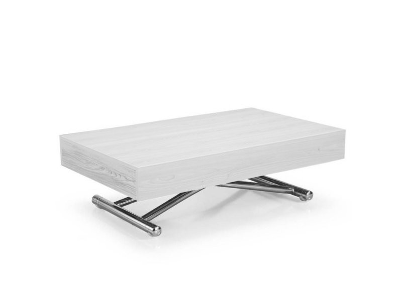 Table basse relevable cube chêne blanc extensible 10 couverts 20100874693