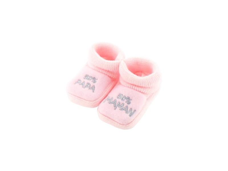 5d2fce42bfb92 Chaussons pour bébé 0 à 3 mois rose - 50 maman 50 papa - Vente de ...