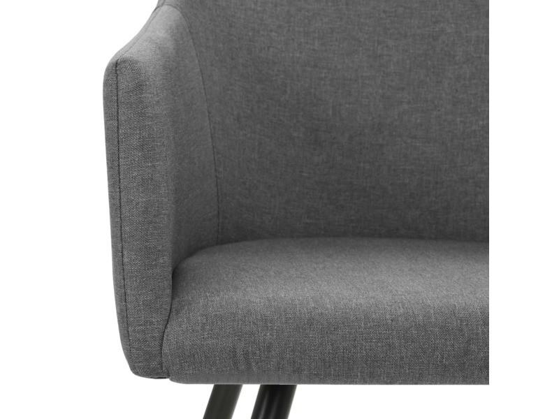 Vidaxl chaise de salle à manger 2 pcs gris clair tissu