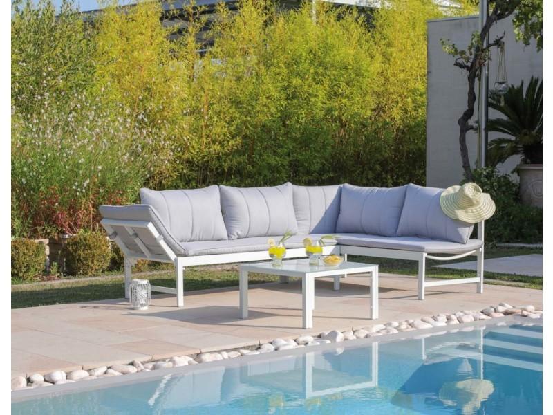 Salon de jardin en aluminium avec méridienne metz - Vente de ...