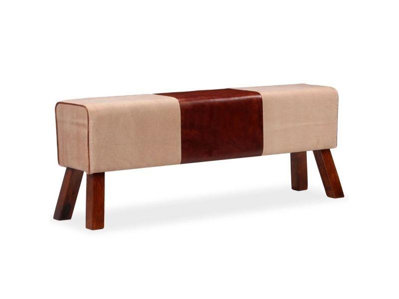 Banquette pouf tabouret meuble banc cuir véritable et toile marron et beige 120 cm helloshop26 3002106