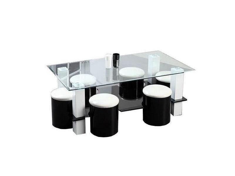 Table basse bodega table basse + 6 poufs contemporain mdf noir et blanc - l 130 x p 70 cm noir