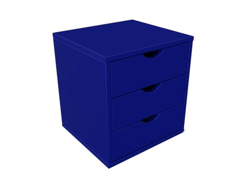 Bloc 3 tiroirs bois massif bleu foncé BLOC3T-DF