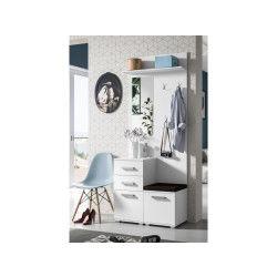Meuble d'entrée - liberty - blanc - 4 pièces - miroir - siège - rangements