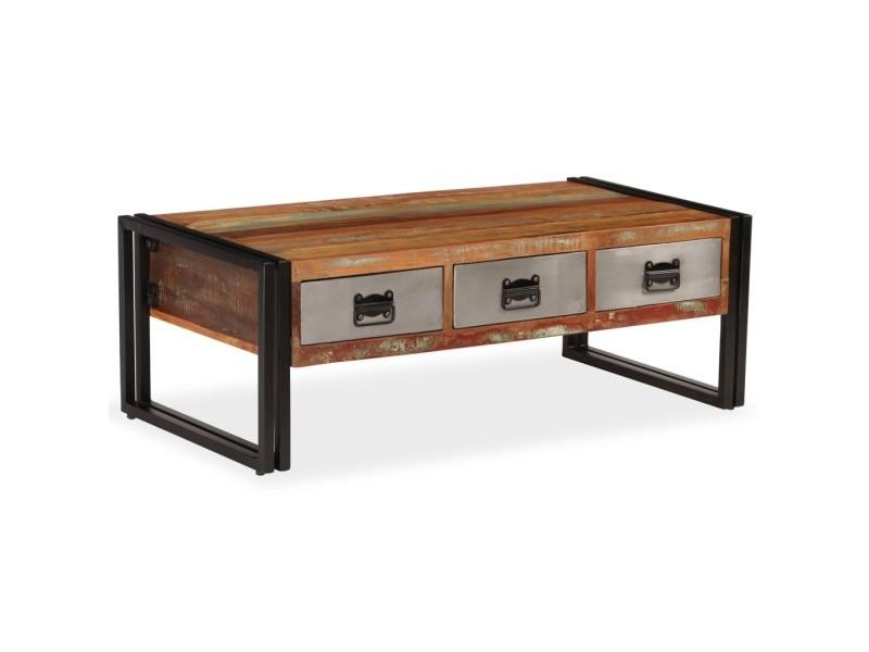 Vidaxl Table Basse Avec 3 Tiroirs Bois De Recuperation 100x50x35 Cm 244941 Vente De Vidaxl Conforama